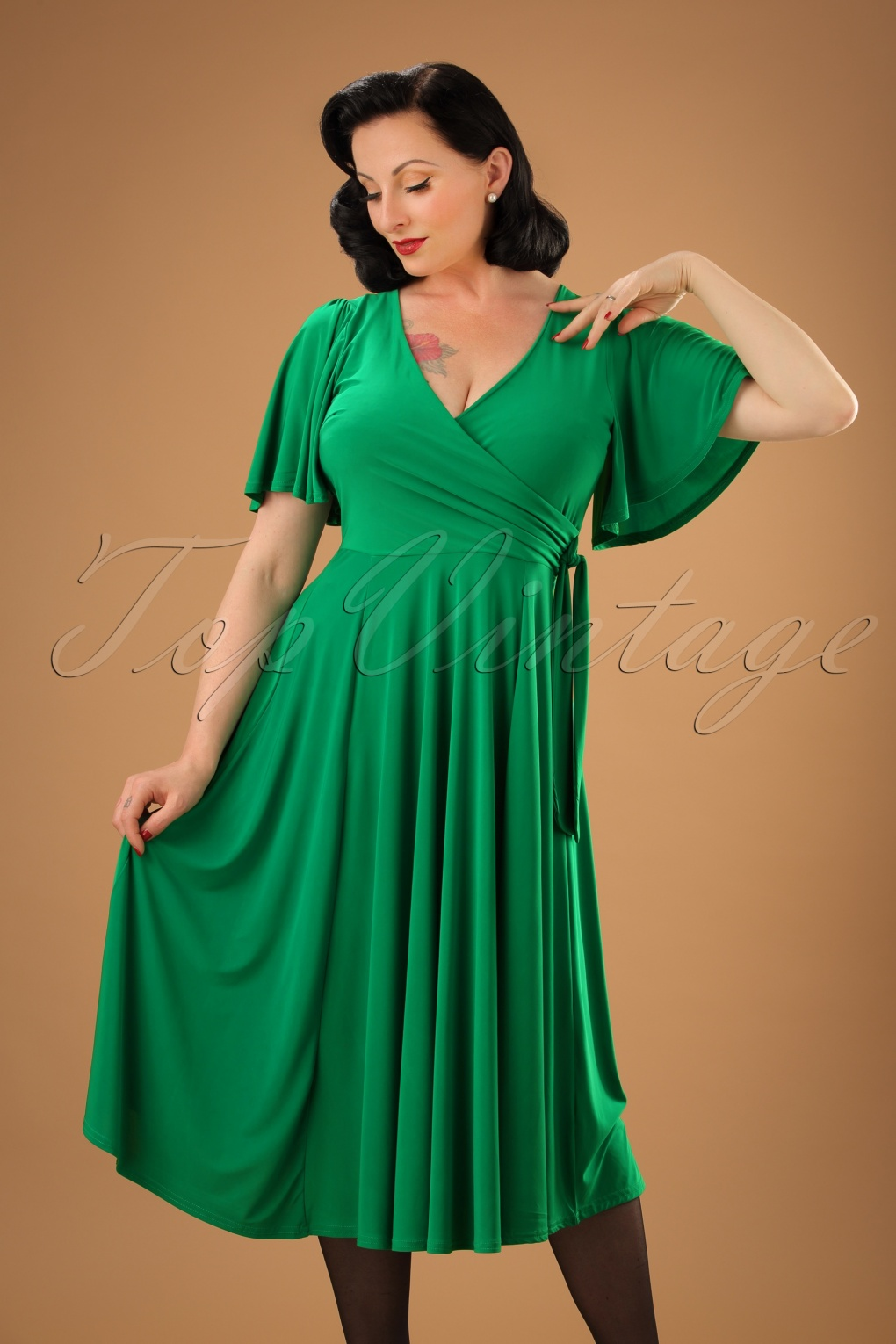 1940s Style Dresses and Clothing 40s Lara Cross Over Swing Dress in Emerald £52.91 AT vintagedancer.com