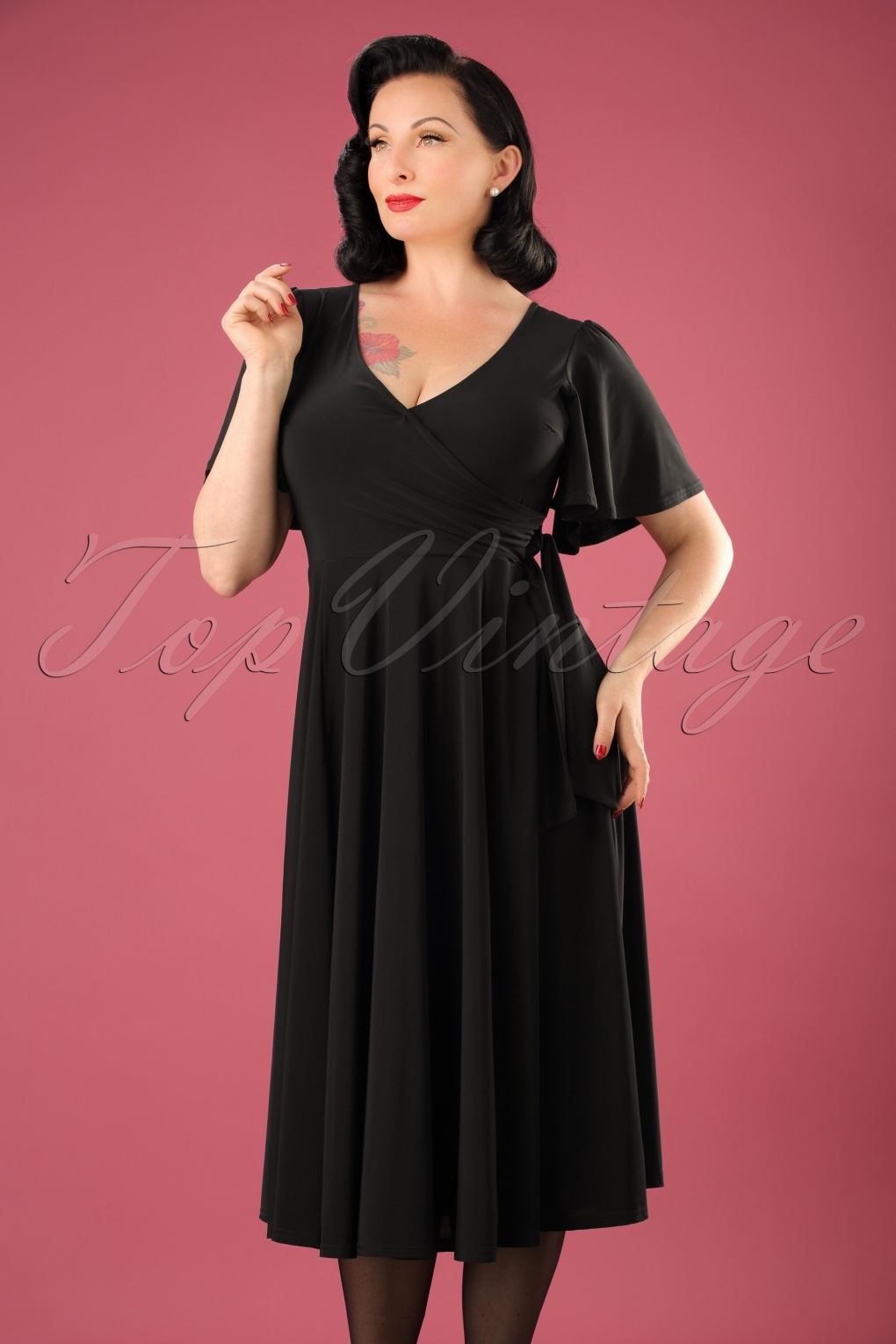 1940s Evening, Prom, Party, Cocktail Dresses & Ball Gowns 40s Lara Cross Over Swing Dress in Black £52.91 AT vintagedancer.com