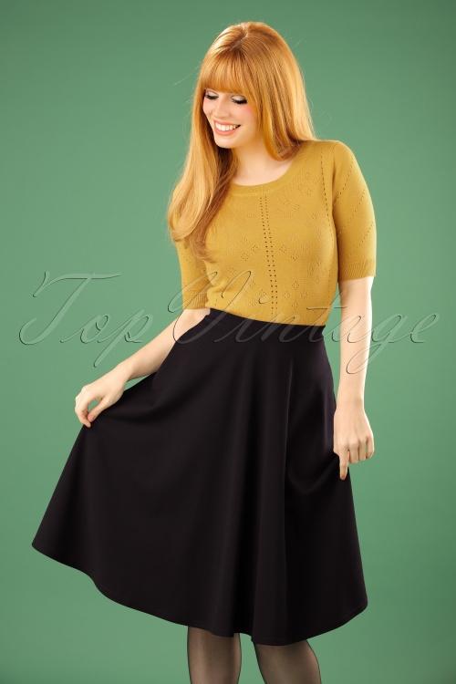 Vintage Chic Scuba Black Flared Skirt 122 10 22507 20170816 0009W