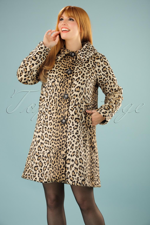 Retro Vintage Style Coats, Jackets, Fur Stoles 60s Betty Fur Coat in Leopard £154.03 AT vintagedancer.com
