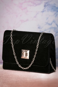 50s Viola Velvet Evening Clutch in Black