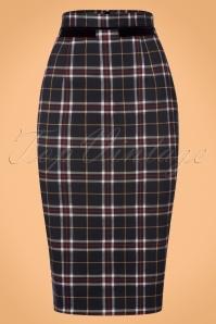 50s Bliss Tartan Pencil Skirt in Dark Navy