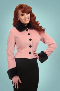 Collectif Clothing Marianne Fur Trim Jacket in Pink and Black 21745 20170609 0019W