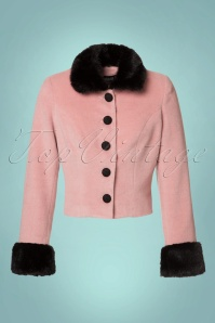 Collectif Clothing Marianne Fur Trim Jacket in Pink and Black 21745 20170609 0003W