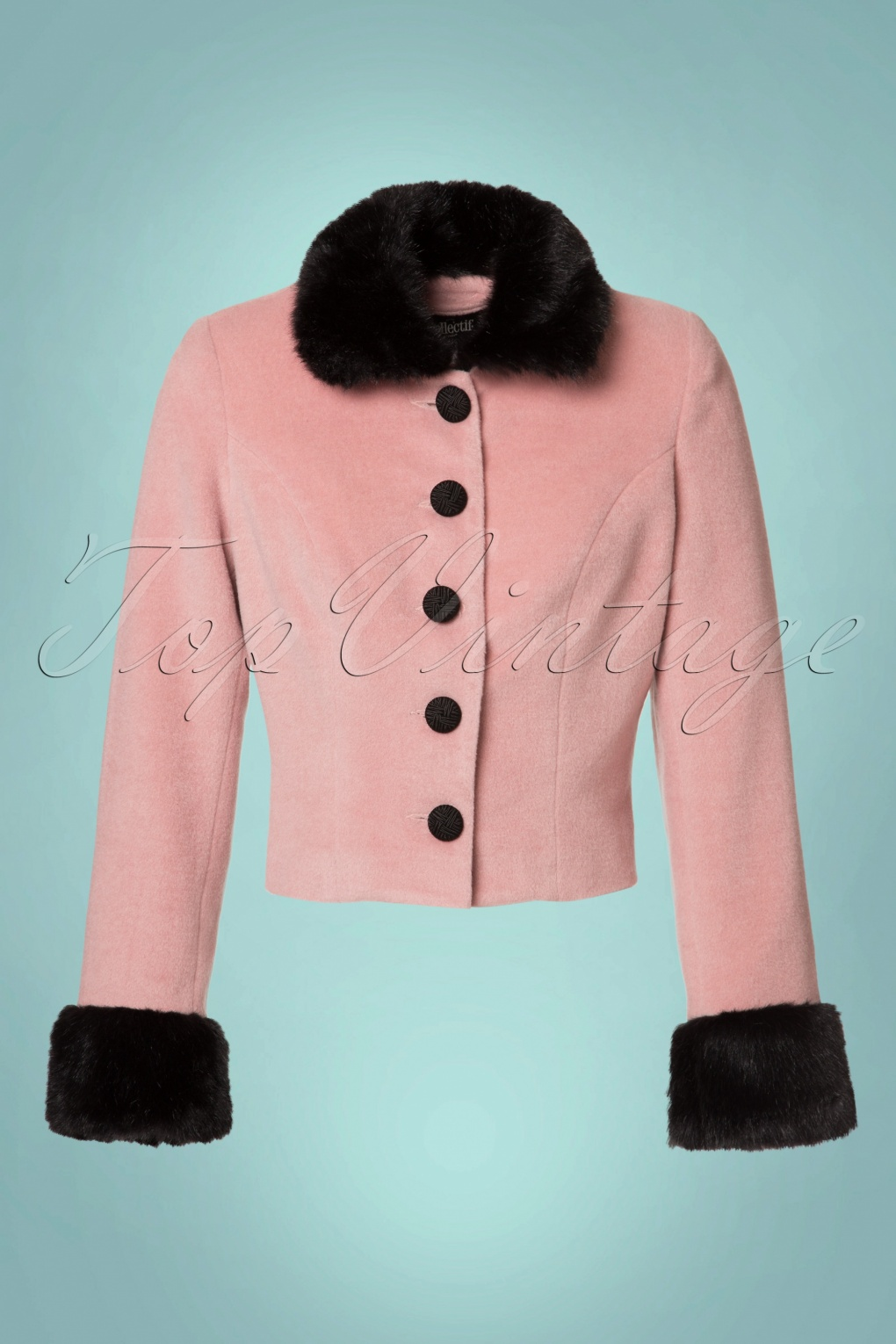 1950s Jackets and Coats | Swing, Pin Up, Rockabilly 50s Marianne Fur Trim Jacket in Pink £86.44 AT vintagedancer.com