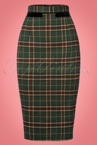 50s Bliss Tartan Pencil Skirt in Green