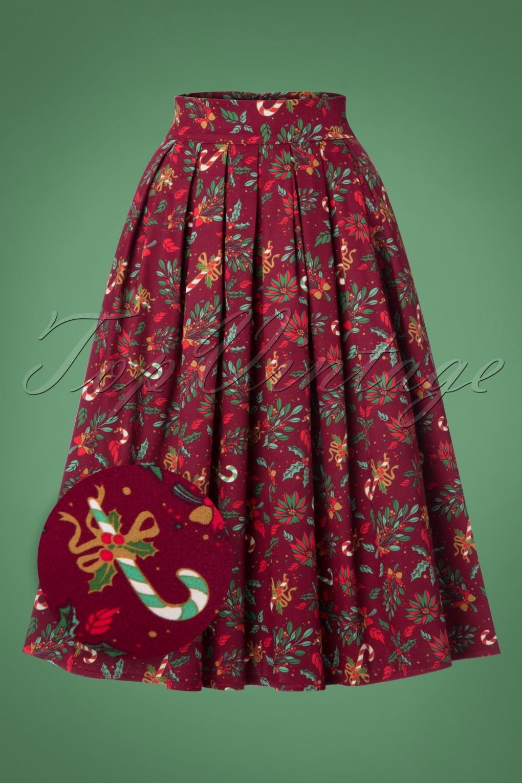 Vintage Retro Halloween Themed Clothing 50s Autumn Leaves Skirt in Burgundy £37.90 AT vintagedancer.com