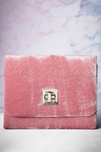 50s Viola Velvet Evening Clutch in Dusty Pink
