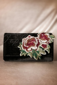20s Floral Velvet Evening Clutch in Black