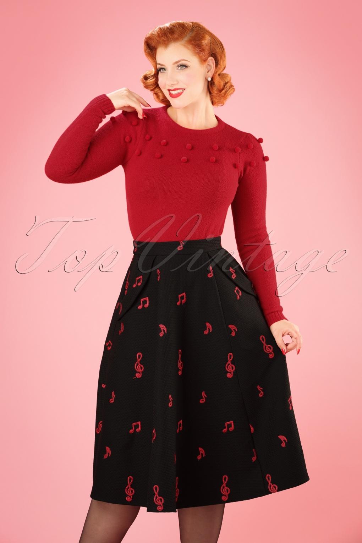 50s Theodora Music Notes Swing Skirt in Black