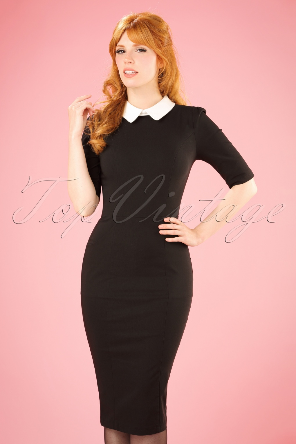 1950s Housewife Dress | 50s Day Dresses 50s Winona Pencil Dress in Black and White £48.95 AT vintagedancer.com