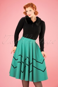 Collectif Clothing Milla Swing Skirt in Light Green 21881 20170606 001W
