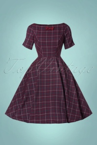 Banned Purple Checked Swing Dress 102 27 22359 20170828 0003W