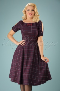 Banned Purple Checked Swing Dress 102 27 22359 20170828 001