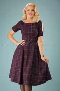 Eliza Swing Dress Années 40 en Aubergine