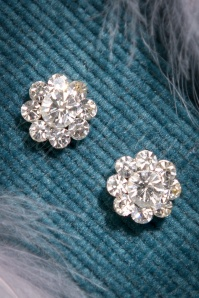 50s Clear Stone Flower Earstuds in Silver