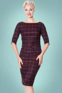 Banned Carlita Purple Check Pencil Dress 100 27 22357 1