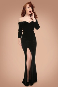 Collectif Clothing Anjelica Velvet Maxi Dress in Black 21824 20170612 0009