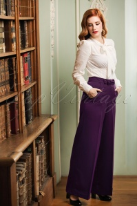 40s Hidden Away Trousers in Aubergine