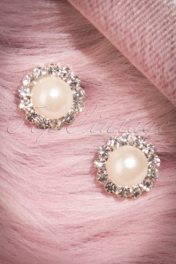 50s Pearl and Clear Stones Earstuds in Silver