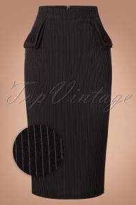 50s Purple Haze Pinstripe Pencil Skirt in Black
