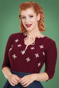 50s Chloe Floral Sweater in Burgundy