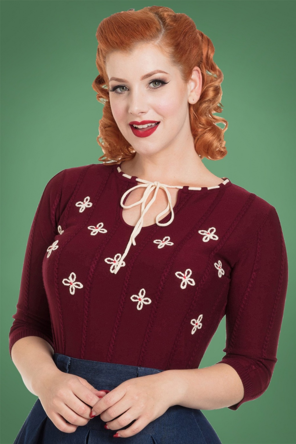 Retro Vintage Sweaters 50s Chloe Floral Sweater in Burgundy £44.08 AT vintagedancer.com
