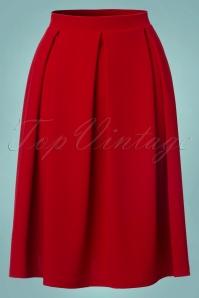 Vintage Chic Full Pleat Midi Red Skirt 122 20 22476 20170907 0001W