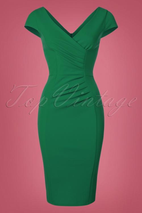 Vintage Chic Scuba Crepe Emerald Pencil Dress 100 40 22688 20170123 0021w