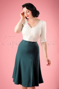 50s Melanie Flared Bell Skirt in Blue