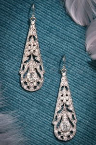 20s Drop Crystal Earrings in Silver