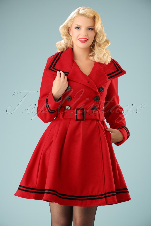Retro Vintage Style Coats, Jackets, Fur Stoles 50s Millie Swing Winter Coat in Red £88.00 AT vintagedancer.com