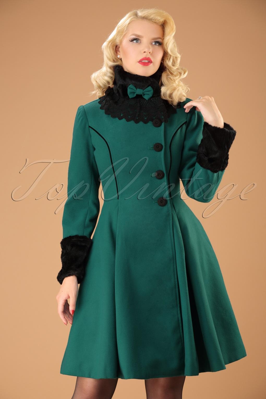 Retro Vintage Style Coats, Jackets, Fur Stoles Vintage Angeline Coat in Teal £108.51 AT vintagedancer.com