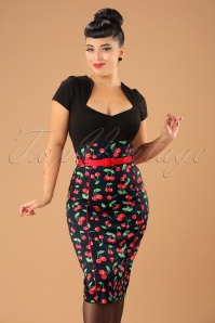 Bunny 50s Cherry Pop Pencil Skirt in Black