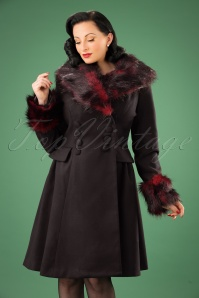 Bunny Rock Noir Faux Fur Black and Red Coat 152 10 16730 20151021 0012W