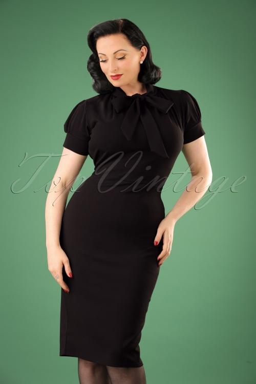 Vintage Chic Black Luxury Bodycon Bow Dress 100 10 19253 20160630 00010W