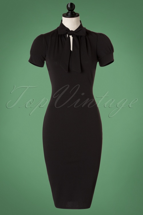1b77a5896fcae4 50s Bonnie Tie Neck Pencil Dress in Black