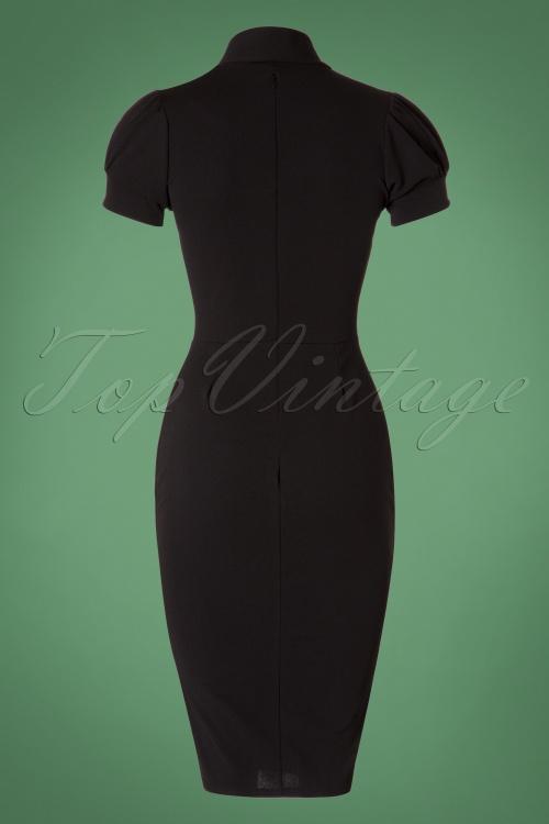 2b68c98050 50s Bonnie Tie Neck Pencil Dress in Black