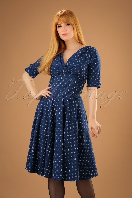 b464142f7b80 Unique Vintage 1950s Style Navy Blue Anchor Print Delores Swing Dress 10W