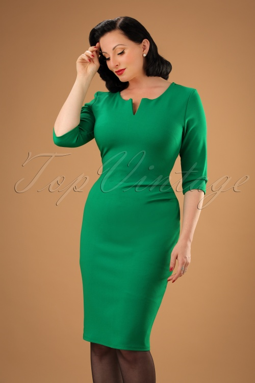 Vintage Chic Emerald Green Pencil Dress 100 40 20096 20161031 00010W