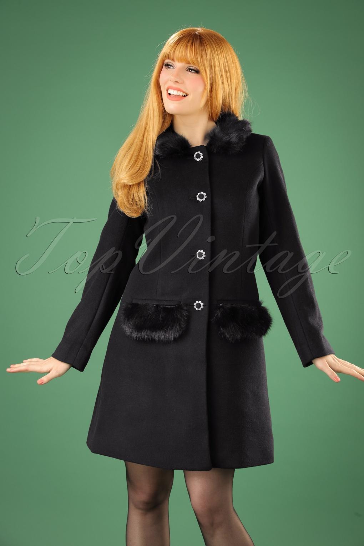 1960s Style Dresses, Clothing, Shoes UK 60s Juliette Coat in Black £139.06 AT vintagedancer.com