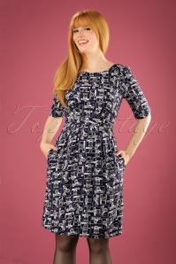 50s Hattie Strike A Pose Dress in Navy