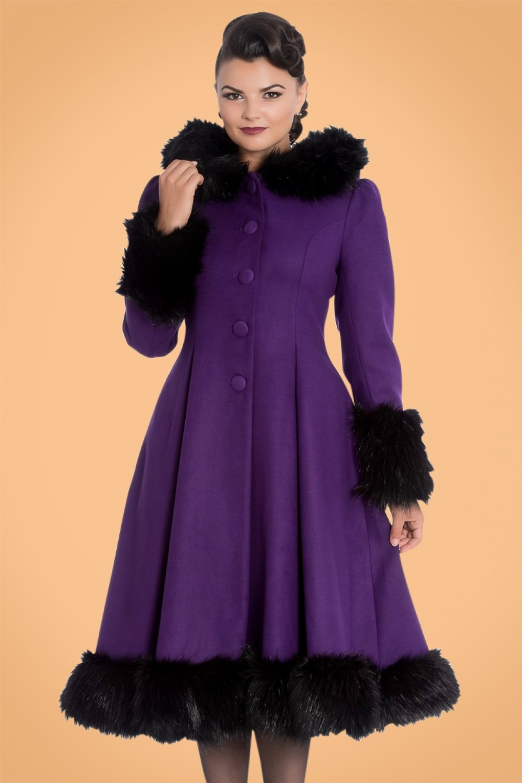 Retro Vintage Style Coats, Jackets, Fur Stoles 30s Elvira Coat in Purple £123.51 AT vintagedancer.com