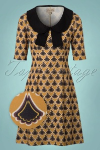 60s Tammy Fans Dress in Mustard