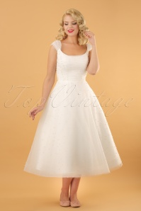 Betsy Bridal Swing Dress Années 50 en Blanc