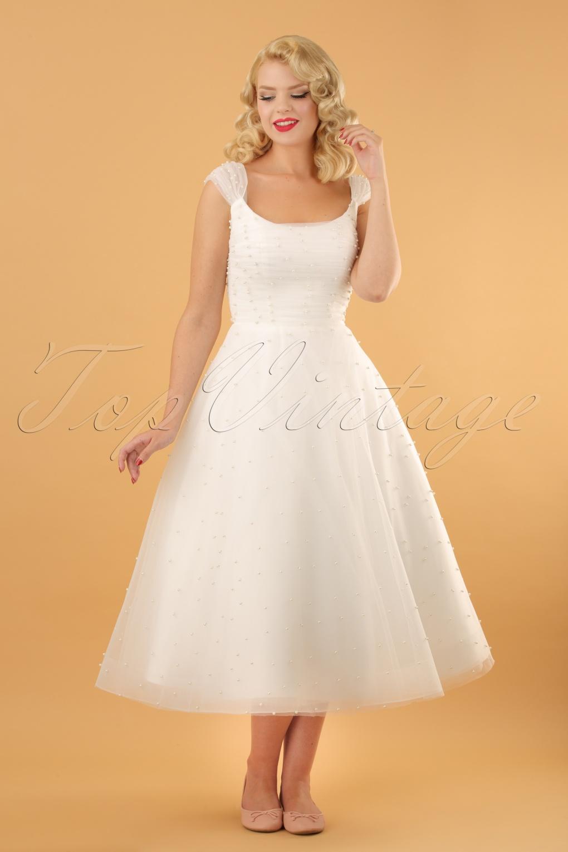 50s Wedding Dress, 1950s Style Wedding Dresses, Rockabilly Weddings 50s Betsy Bridal Swing Dress in White �212.05 AT vintagedancer.com