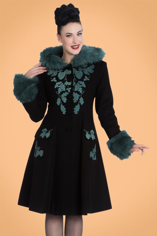 Retro Vintage Style Coats, Jackets, Fur Stoles 50s Sherwood Coat in Black and Teal £126.16 AT vintagedancer.com
