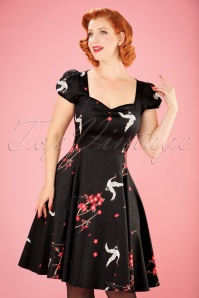 50s Mimi Cranes and Blossom Doll Dress in Black