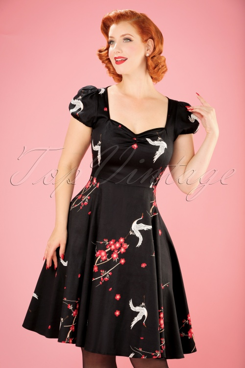 Collectif Clothing Mimi Cranes and Blossom Doll Dress in Black 21848 20170615 0014w