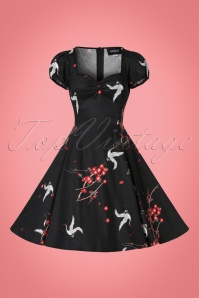 Collectif Clothing Mimi Cranes and Blossom Doll Dress in Black 21848 20170615 0013wv
